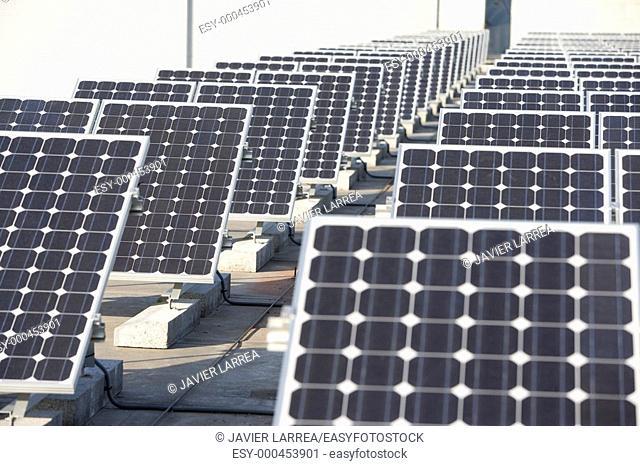 Solar panels. Ficoba. Irun, Gipuzkoa, Basque Country, Spain