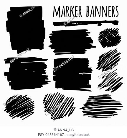 Textured marker banners, lines and stains. Template for business card, banner, poster, notebook, invitation. Vector illustration for your design