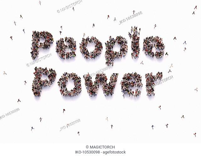 Overhead view of people forming words people power