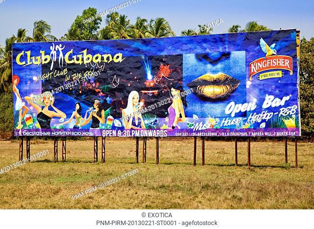 Billboard of a nightclub, Club Cubana, Xim Vado, Arpore Hill, Arpora, Calangute, Bardez, North Goa, Goa, India