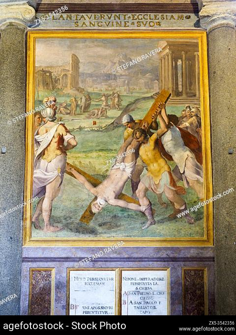 Wall decorated with frescoes portraying the crucifixion of Saint Peter in the foreground and the beheading of Sant Paul in the background - Basilica di Santo...