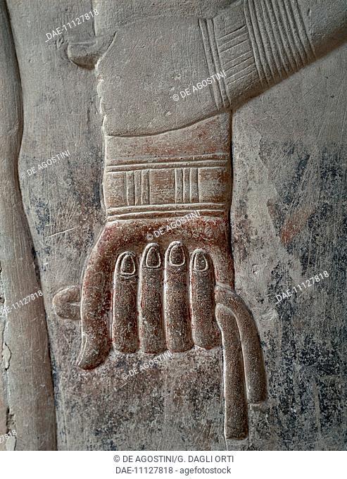 Mereruka's hand holding a handkerchief, detail of a relief, from the Mastaba of Mereruka Saqqara. Egyptian Civilisation, Old Kingdom, Dynasty VI