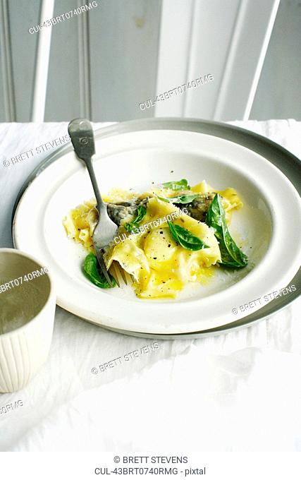 Plate of ravioli and herbs