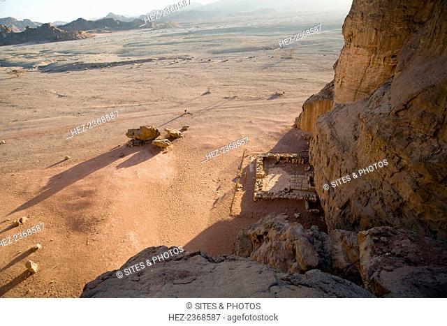 The Temple of Hathor, Timna Valley Park, Israel. The Temple of Hathor is located at the base of King Solomon's Pillars. Dedicated to Hathor