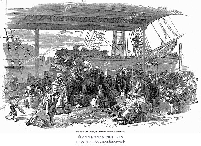 Irish emigrants embarking for America at Waterloo Docks, Liverpool, 1850. The failure of the Irish potato crop in the 1840s led to a devastating famine