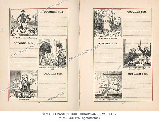 A double page spread in a young person's diary for 23-28 October. Each day is given a small illustration, relating either to the season