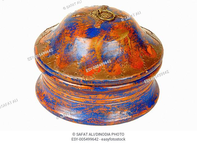 Brass design fitting on antique wooden pot with cap ; Jodhpur ; Rajasthan ; India