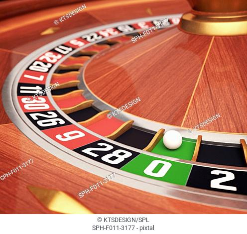 Roulette wheel, computer illustration