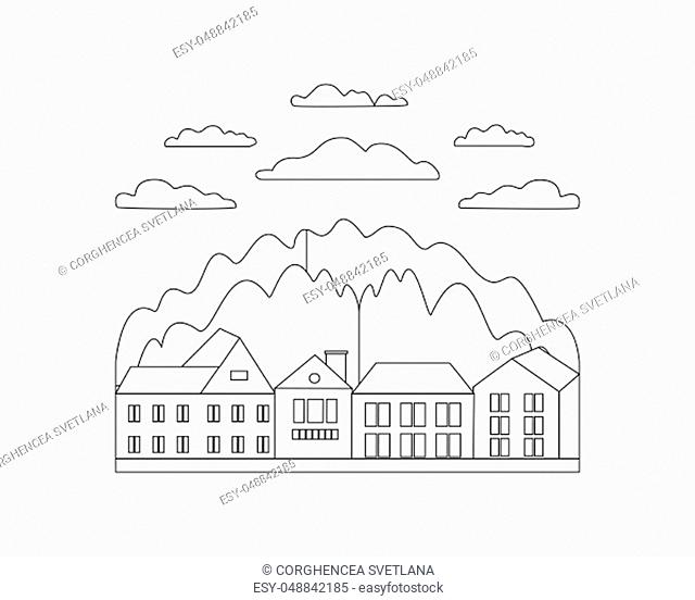 Thin line outline landscape rural farm. Symbol design village outdoor modern with mountain, hill, tree, sky, cloud and sun