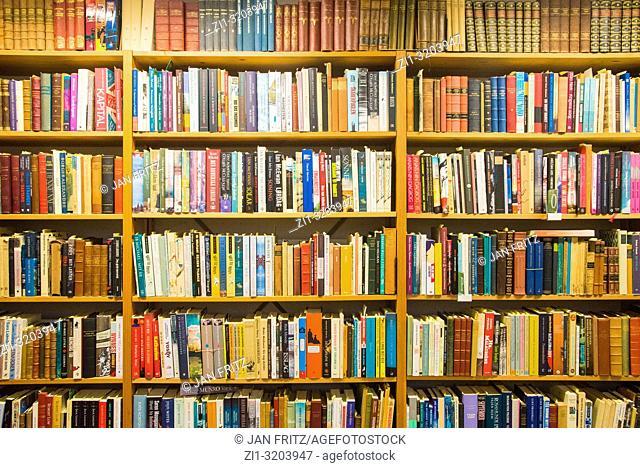shelves with books in bookstore in Copenhagen, Denmark