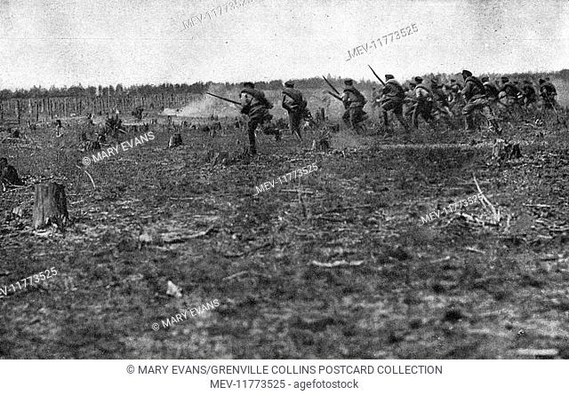 Russian soldiers in action on the eastern front, Russia, during the First World War -- an assault battalion charging
