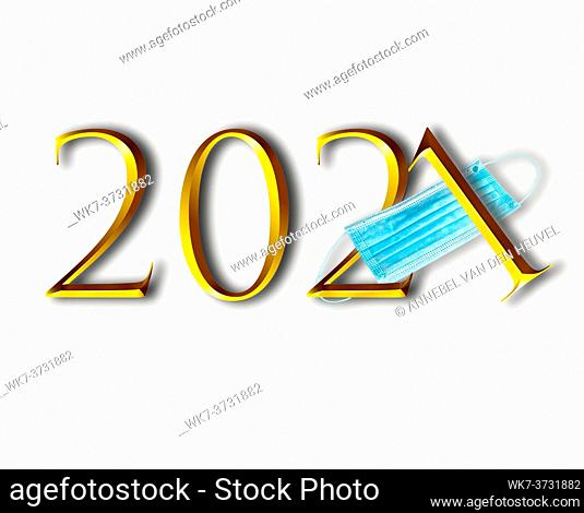 Happy new Year 2021 text in gold letters isolated on white background with blue medical mask for Coronavirus, Covid-19 and New Year concept sparkling