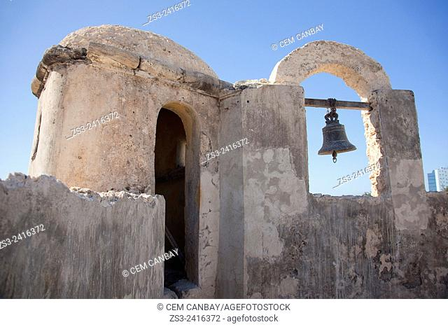 Bell of Baluerte de Santa Rosa, historic fort at the center of Campeche, Campeche, Yucatan, Mexico, Central America