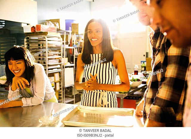 Students at pasta making class