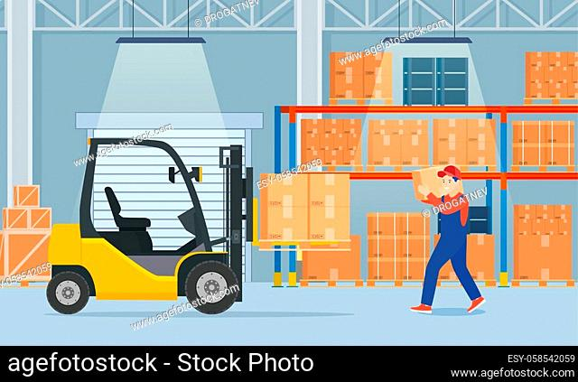 Warehouse interior with cardboard boxes on metal racks. Warehouse interior with goods, pallet trucks, forklift truck and container package boxes