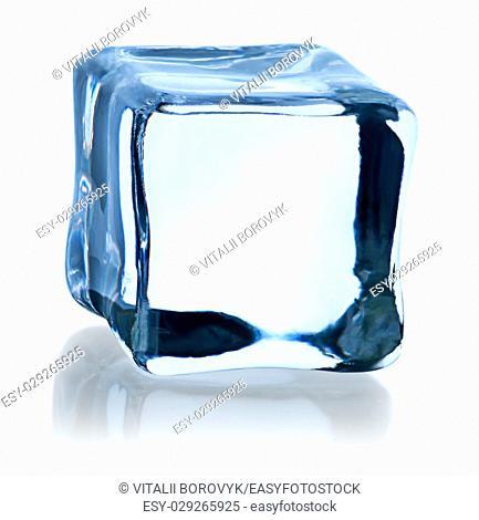 Blue ice cube isolated on white background