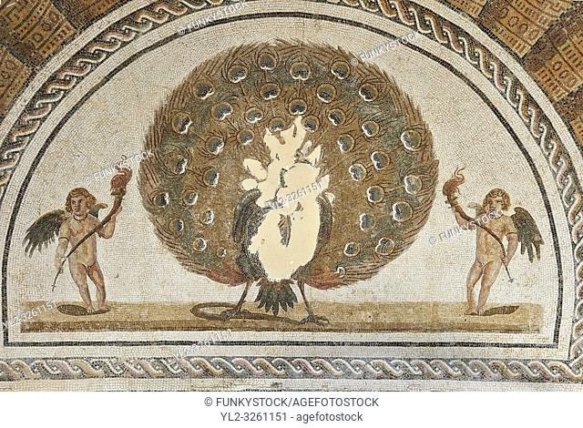 Pictures of an apse Roman mosaics design depicting a peacock spreading its tail feathers between two winged angels or cupids holding long candle sticks