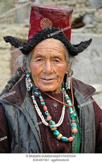 Ladakhi woman Lama Yuru, Ladakh, India