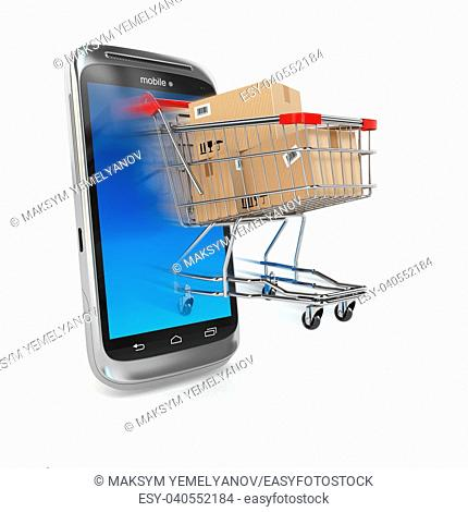 Online commerce, Mobile phone and shopping cart. 3d