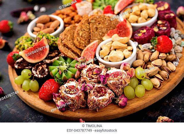 Mix fruits and nuts, healthy diet, Turkish sweets, eating lean