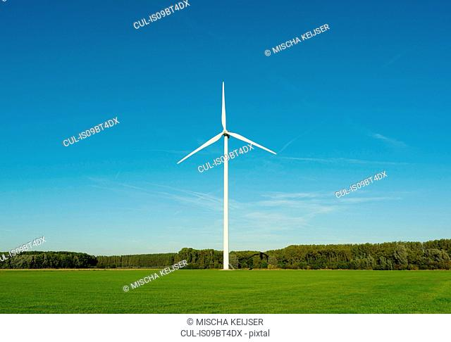 Wind turbine on nature reserve, Netherlands