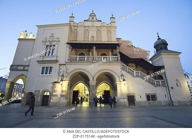 KRAKOW POLAND ON SEPTEMBER 25, 2018: The market square by dusk. The cloth hall