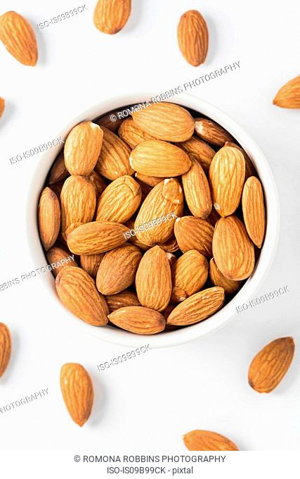 Overhead view of almond nuts in bowl