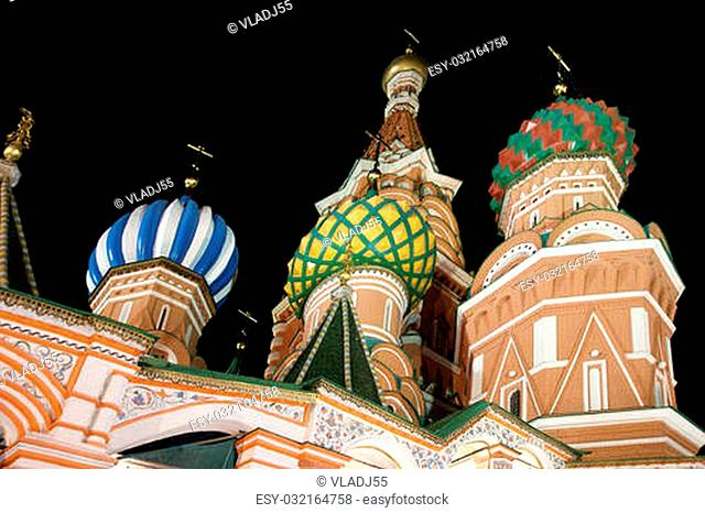 Moscow at night, Russia, Red Square, Cathedral of Intercession of Most Holy Theotokos on the Moat ( Temple of Basil the Blessed)