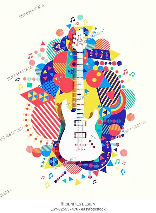 Electric guitar icon, music concept design with colorful vibrant geometry shapes background. EPS10 vector