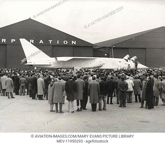 Crowd of People Around the British Aircraft Corporation Tsr 2 Prototype Parked in Front of the Hangars