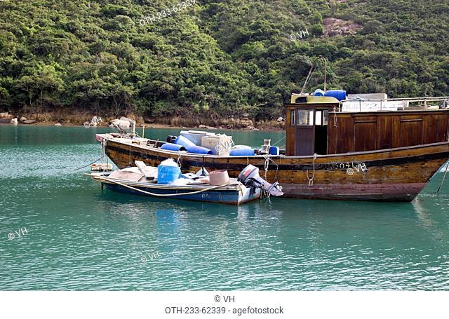 Fishing boat mooring at Kau Sai Chau, off Sai Kung, Hong Kong