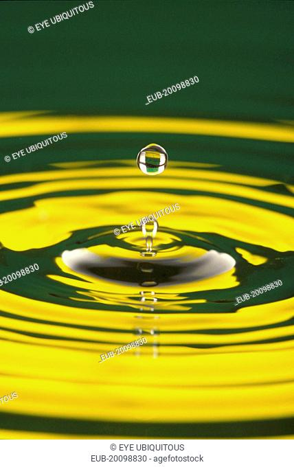 Water droplet at moment of suspension above circular ripples with yellow colour reflected in water surface