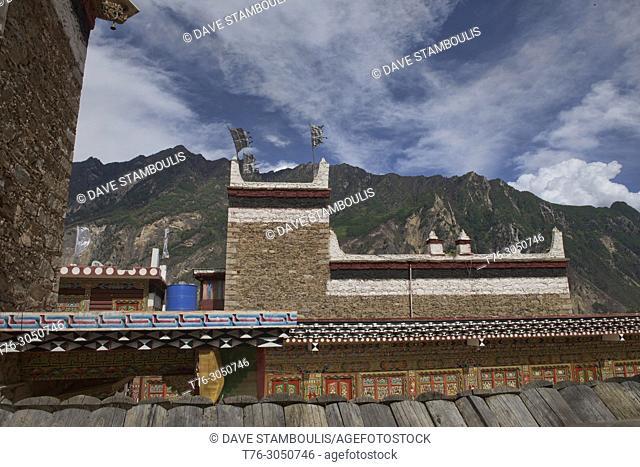 Traditional Tibetan home in the charming village of Jiaju, Sichuan, China