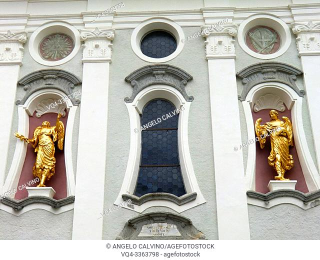 Parrocchiale di San Michele, Church of San Michele in the historic center of San Candido in Val Pusteria, Province of South Tyrol, Trentino-Alto Adige, Italy