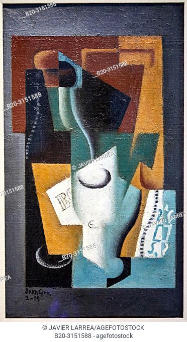 """""""Glass and Bottle"""", 1919, Juan Gris, National Museum of Catalan Art, Museu Nacional d Art de Catalunya, MNAC, Barcelona, Spain, Europe"