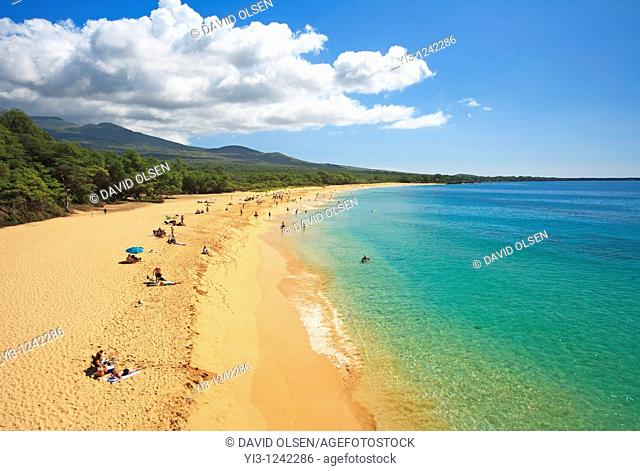 Aerial view of Makena State Park, Maui, Hawaii  It is also known as Big Beach