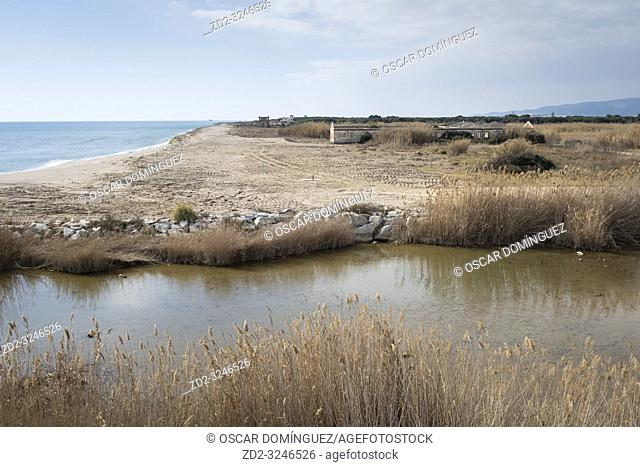 Mouth of the Bunyola Canal. Natural Areas of the Llobregat Delta. Barcelona province. Catalonia. Spain