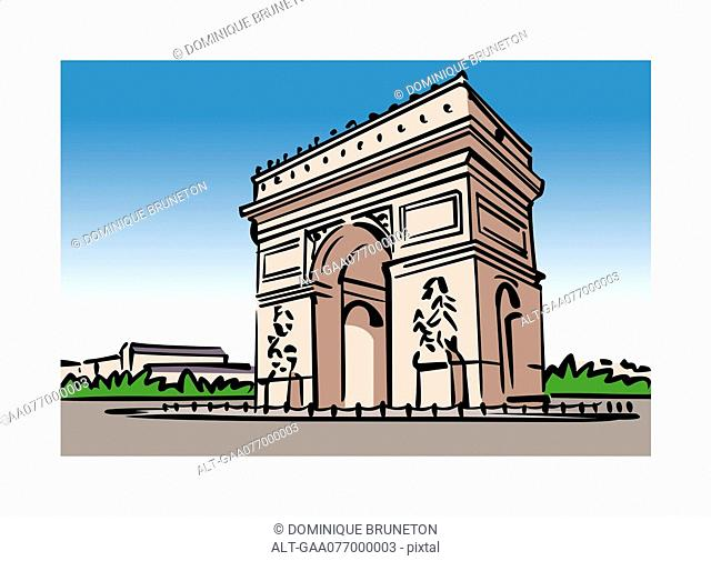 Illustration of the Arc de Triomphe in Paris, France