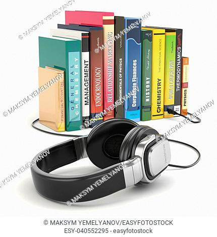 Audiobook concept. Headphones and books on white isolated background