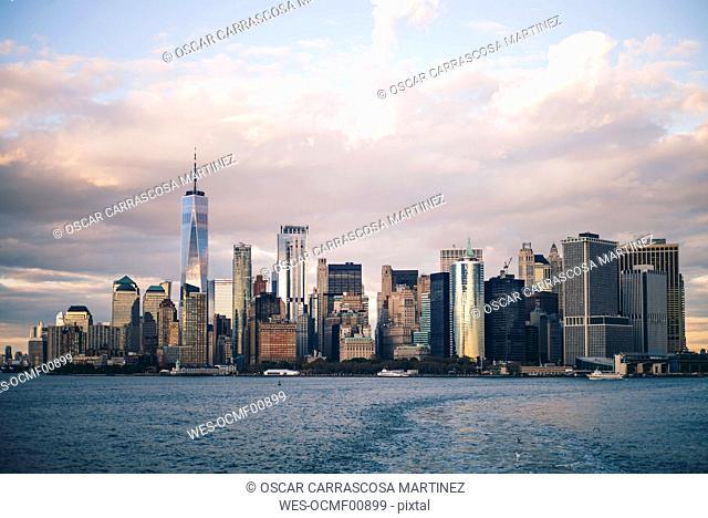 Skyline of New York City seen from Staten Island Ferry, USA
