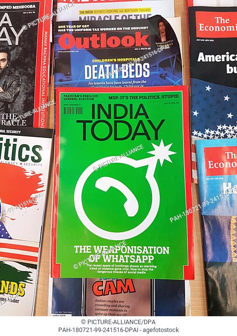 20 July 2018, India, New Delhi: The cover of Indian magazine 'India Today', published on 23 July, reads the headline 'The Weaponisation of WhatsApp'