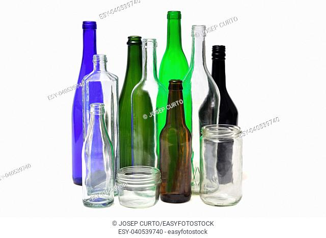 group of bottles isolated on white