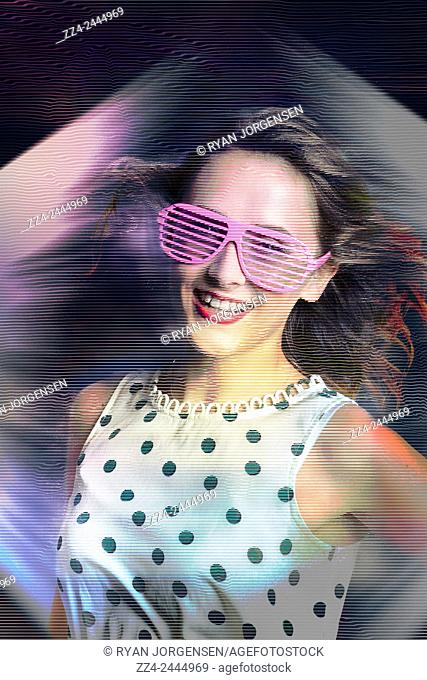 Abstract space age photo a futuristic woman beaming through in striped data flow to a virtual reality display of lights. Flashback of the retro hologram girl
