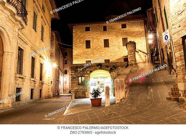 Alleys and squares at night with illumination. Assisi, Umbria. Italy