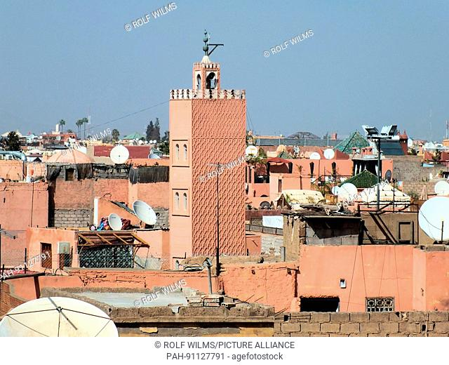 From the rooftop garden of the Riad Yamsara, guests have a beautiful panoramic view of the roofs of the medina and the towers of the mosques February 2017...
