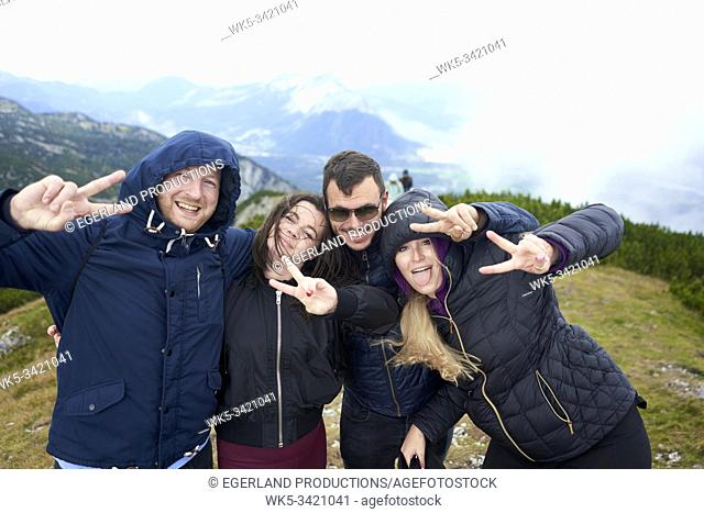 group of friends hiking in mountains, Europe, Austria, Salzburg, Mount Untersberg