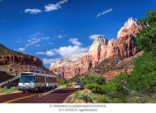 The mountains, buttes, rock formations and valleys of Zion National Park, Utah, USA
