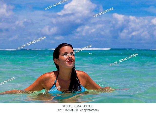 Latin Girl in the Caribbean Sea, Mayan Riviera