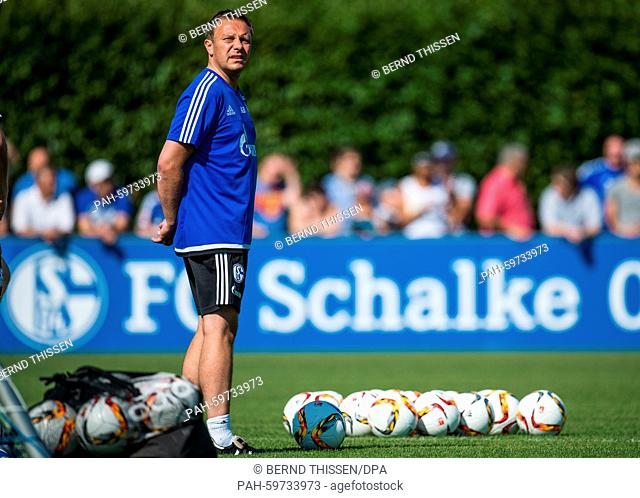 German Bundesliga FC Schalke's new trainer André Breitenreiter looks out at the official opening of the team's training season in Gelsenkirchen, Germany