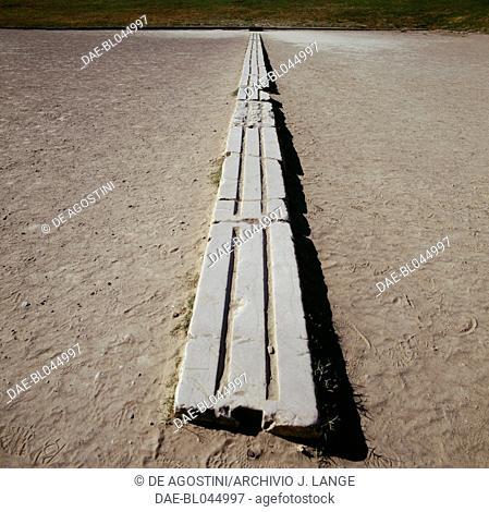 Stone starting line, Stadium, Olympia (Unesco World Heritage List, 1989), Peloponnese, Greece. Greek civilisation, 5th century BC